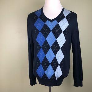 BANANA REPUBLIC Silk Cashmere Argyle VNeck Sweater